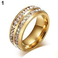 Gold Stainless Steel White Sapphire Fashion Wedding Proposal Men Ring Size 8