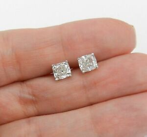 1.5ct Cushion Cut Diamond Classic Solitaire Stud Earrings 14k White Gold Over