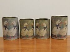 Vtg Goose Design Nesting Tin Containers Round Printed Country Green White Snow