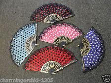 Spanish Style Polka Dots / Oriental Dance Party Wedding Folding Hand Fan