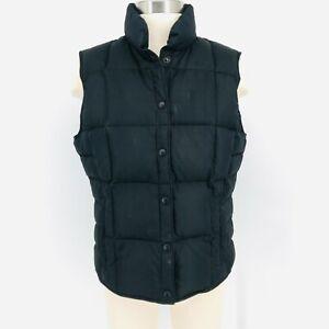 Lands End Quilted Vest Jacket Snap Up Lightweight Black Down Fill  Womens Medium