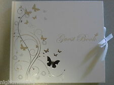 Wedding/Bridal/Christening/ 21st/18th/16th White & Silver Butterfly Guest Book