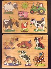 """2 NEW NWT WOODEN EDUCATIONAL PUZZLE ANIMAL 12x8.5"""" LEARNING TOY KID TODDLERS LOT"""