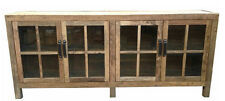 Rustic  Recycled Elm Wood  & Glass sideboard -Industrial sideboard 210x40x90h