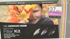 Vivitar 3 Piece HD Pro Filter Set 37mm UV CPL FLD For camcorder  37 polarizer