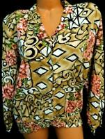 Joanna brown multi color floral long cuff sleeve ruched dressy career top 16
