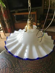 Large Italian glass frilled light shade, ceiling light, Murano? Made in Italy