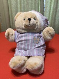"VTG. 1997 Chosun HEART TO HEART Plush 18"" Teddy Bear purple / green"