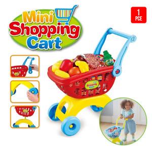 18Pc Set Kids Supermarket Pretend Play Set Shopping Trolley Toy Shopping Cart
