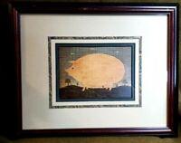 """Vintage Warren Kimble """"Pink Pig"""" Professionally Framed & Signed Print"""