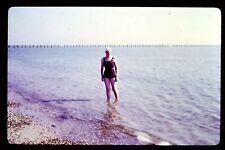 1975 35mm Slide Transparency Photo Colour Retro Woman Swimming Costume Beach Sea