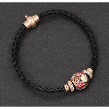 Equilibrium 289246 Floral Ball Charm Leather Rose Gold Plated Bracelet - Sparkle