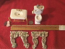 Dollhouse Miniatures PORCELAIN BATHROOM SINK AND TOILET WITH CURTAINS