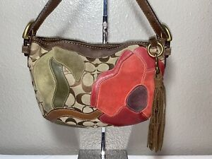 Coach Poppies Peace Jaquard W/ Floral Leather Suede Applique Demi Hobo Bag Purse