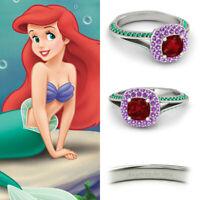 Multi-Color Round CZ 925 Sterling Silver Disney Ariel Princess Kids Girl Ring