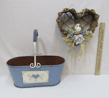 Embossed Metal Tin with Handle Blue Heart Grapevine Basket Bird Blue Flowers