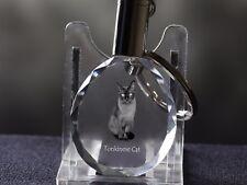 Tonkanese, Katze Kristall rund Schlüsselbund, Crystal Animals DE