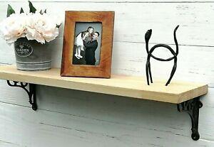 Solid OAK wood Mantel floating shelf rustic with brackets, depth up to 25cm