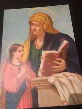 Holy card lamina antique grande de Santa Ana y la Virgen image pieuse santino