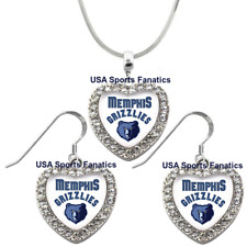 Memphis Grizzlies 925 Necklace / Earrings or Set Team Heart With Rhinestones