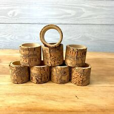 Wood Cork Naplkin Rings Holders Brown Tan 8 Piece Setting Dinner Party