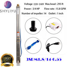 "SHYLIYU 220-240V 3"" Pipe 60Hz 3/4HP Deep Well Submersible Pump With Control Box"