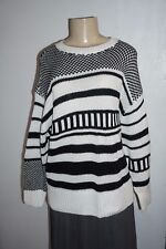 NWT ABERCROMBIE & FITCH WOMENS BLACK & WHITE STRIPE KNIT SLOUCH SWEATER M/L