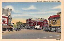 Ohio postcard Geneva Broadway and Main Street street scene