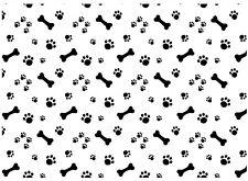 "Allover Dog Bone Paw Prints  5""X7"" Card Fused Glass Decals 18CC1008"