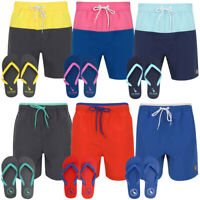 South Shore Mens Swim Shorts & Flip Flops Set Board Surf Swimming Summer Holiday