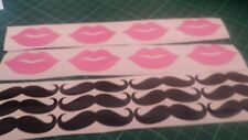 10 x pink lips and 10 black moustaches WINE GLASS/ VINYL STICKERS / DECAL love