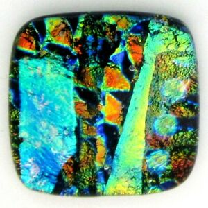 """""""Gracie 22mm x 22mm"""" beautiful hand made Fused Dichroic Glass Cabochon RELEI"""