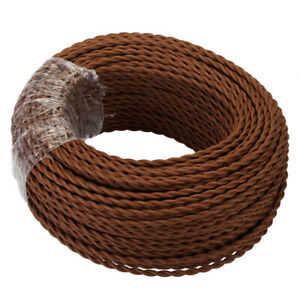 20m 2 Core 0.75mm Flexible Cable Twisted Braided Round Fabric Lighting Cord UK