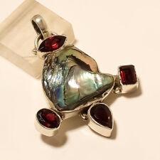 925 Sterling Silver Natural Australian Shell & Mozambique Garnet Pendant Jewelry