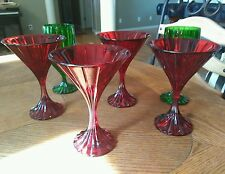 "NEW ONE MIKASA PARK LANE RUBY RED 6 3/4"" MARTINI CRYSTAL GLASS PARKLANE (set ava"