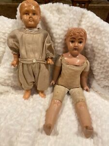 Lot of two Early Antique celluloid and composition dolls Early Schildkrot Marks