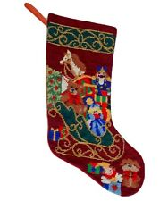 Vintage Needlepoint Christmas Stocking Beaded Santa Sleigh Toys Presents Lined
