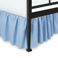 Ruffled Bed Skirt with Split Corners Gathered Style Easy Fit Cotton Light Blue