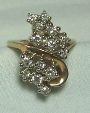 Test 14K Gold Ring w 14 Diamonds  4.7 grams   approximately .45 ct diamonds