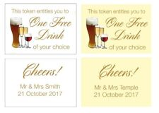 20 Personalised Wedding Drinks Tokens - One Free Drink, Any wording on back