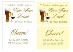 50 Personalised Wedding Drinks Tokens - One Free Drink, Your wording on reverse
