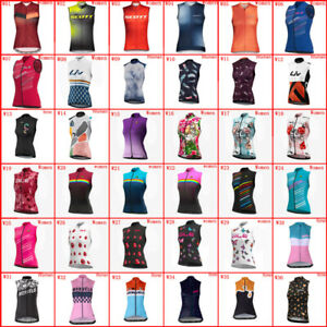 Womens Cycling Sleeveless Jersey Bicycle Vests Team Bike Clothes Sport Uniform