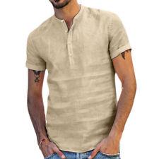 Мужской льняной короткий рукав твердого повседневный рубашки, топы летняя футболка, блуза, футболка