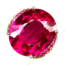 TOPAZ PINK RASPBERRY OVAL 22.8CT.RUBY 925 STERLING SILVER ROSE GOLD RING SZ 6.75