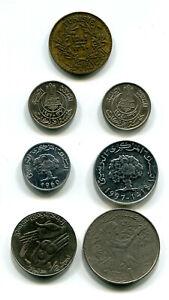 Tunisia Franc 1941, 5 Francs 1954-1957, 1+5 Millim 1960-1997, ½+1 Dinar 1990 (7)
