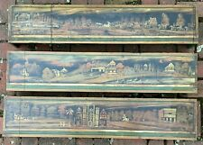 Three Antique Folk Art Stenciled and Painted Window Valences - 19th Century