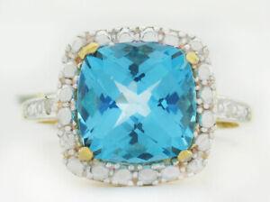 GENUINE 3.92 Cts BLUE TOPAZ & DIAMONDS RING 10k GOLD *Free Certificate Appraisal
