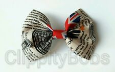 "LADIES HANDMADE 4"" PUNK ROCK UK NEWSPAPER FABRIC BOW HAIR CLIP SLIDE ROCKABILITY"