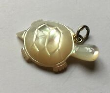 Sterling Silver 925 Mother Of Pearl Carved Tortoise Pendant Necklace Charm G