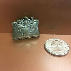 Antique French Fashion Doll Stamped Metal Purse or Handbag